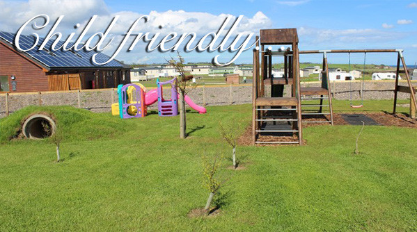 Children's play park at Silverdyke Park with text saying child friendly
