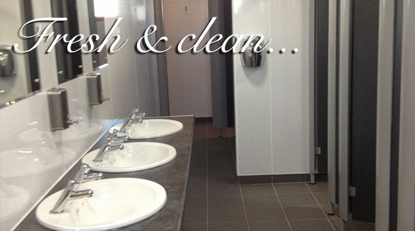 Toilet facilities and sinks at Silverdyke Park with text saying fresh and clean
