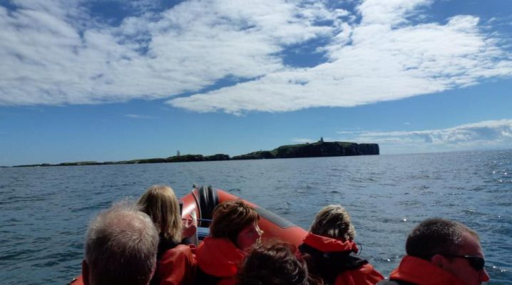 People out on a rib boat exploring the May Isle in Fife