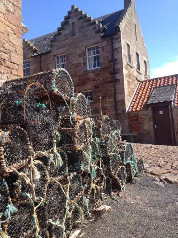 Lobster pots stacked up at Crail