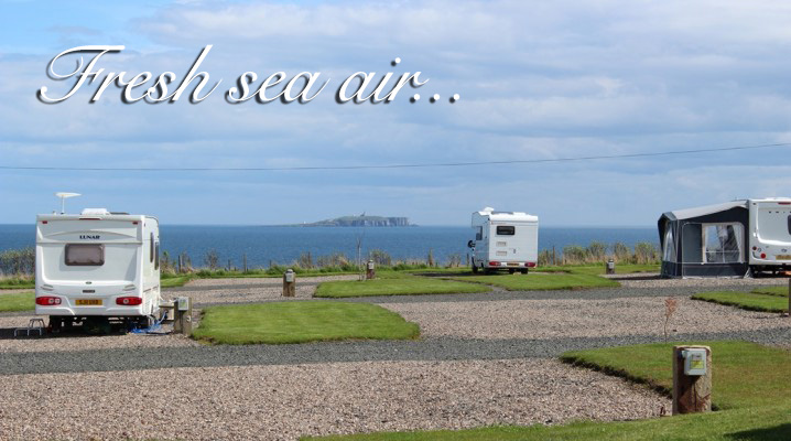 Silverdyke Park with a tourer pitched with a sea view