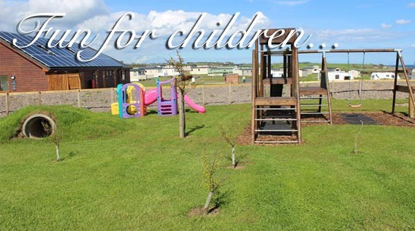 Children's play park at Silverdyke Park with text saying fun for children