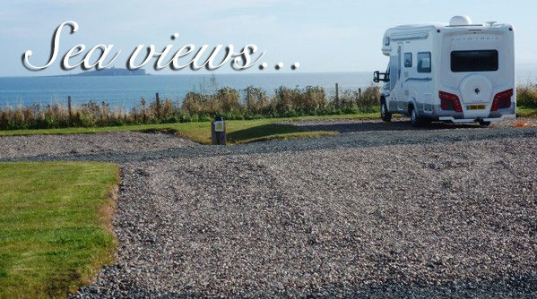 Tourer pitched with a sea view at Silverdyke Park